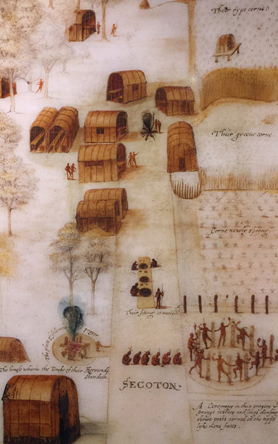 Drawing of the village of Secoton (by John White)