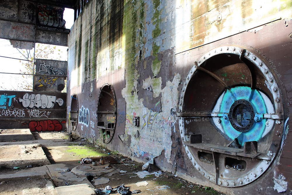Bulkheads that connected to the turbines in the hydroelectric plant