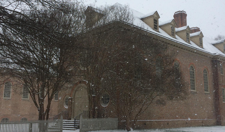 Wren Building in Snow