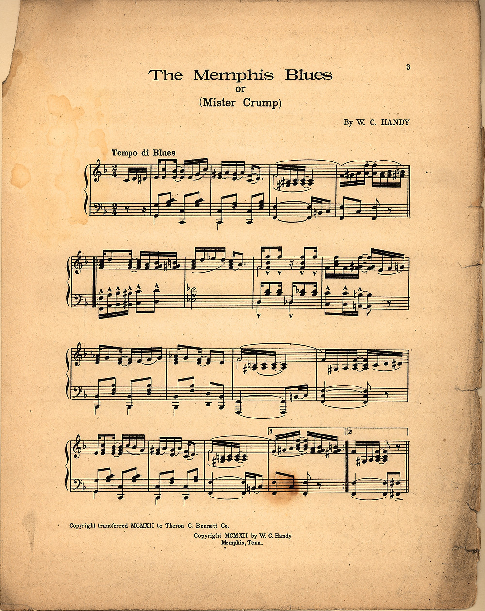 Original Sheet music of The Memphis Blues - 1912