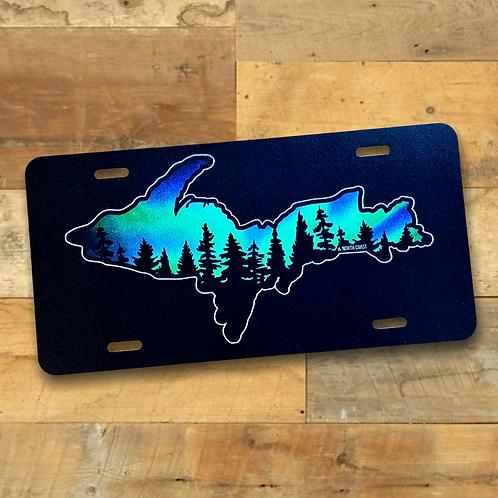Northern Lights Treeline  U.P. License Plate