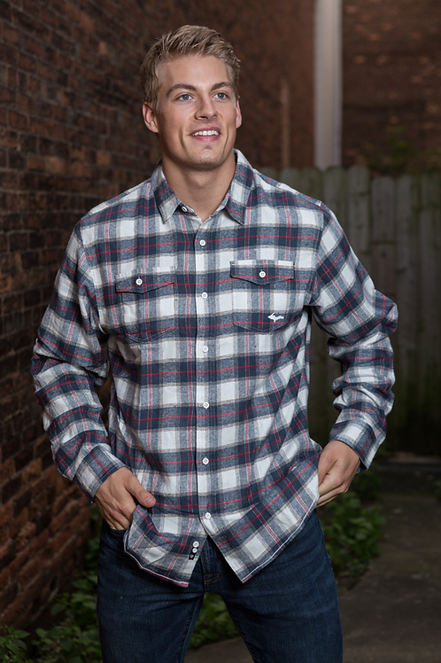 U.P. Flannel | White/Red/Navy