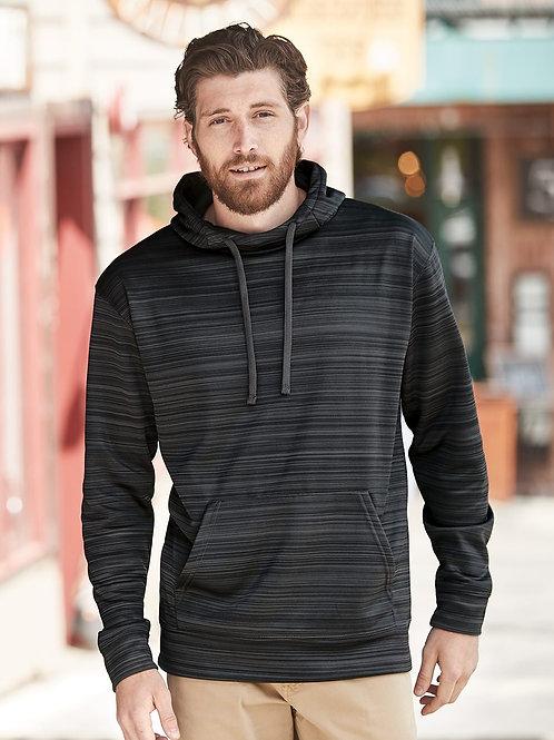 J. America - Odyssey Striped Performance Fleece Hooded Pullover Sweatshirt - 866