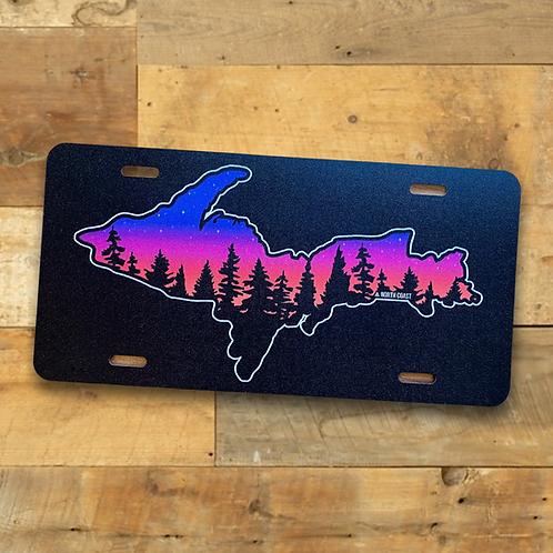 Sunset Treeline U.P. License Plate