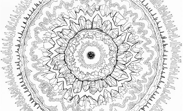 Coloring Page Pattern Example, Crystal Explosion