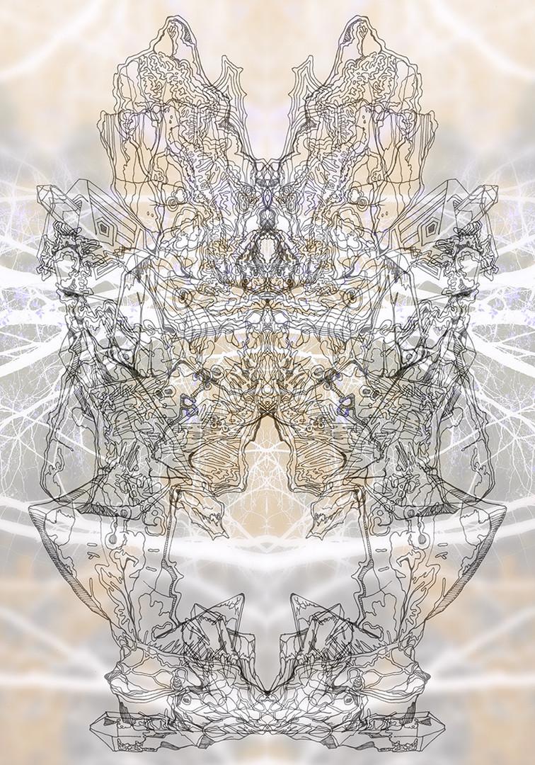 mirrored firebird with energy buddha