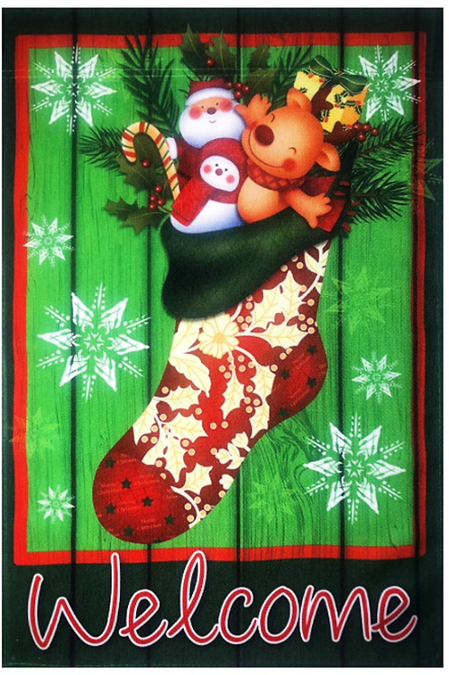 "51groups Christmas Stocking Welcome Flag 12""X18"" Welcome Sign Winter and Christm"