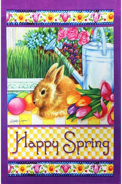 "Happy Spring Bunny Garden Flag 12""X18"" Easter Bunnies & Eggs Decorative Flag Hap"