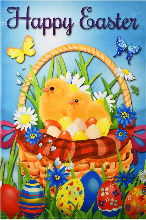 Happy Easter Chicks & Eggs in the Basket
