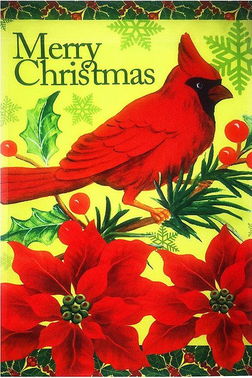 Merry Christmas Red Cardinal Poinsettia