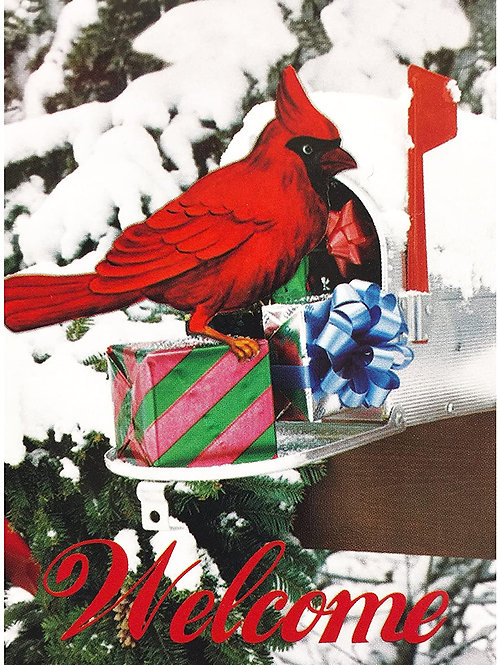 "51groups Cardinal Welcome garden Flag 12""X18"" Designer Flag Winter & Christmas D"