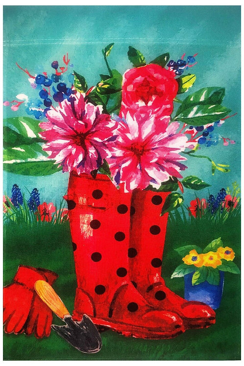 Red Rain Boots & Flowers