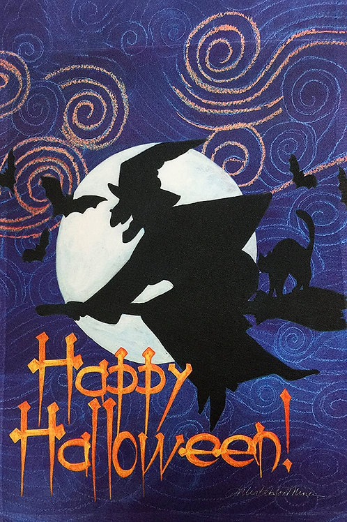 """51groups Halloween Flight of The Witch Flag 12"""" X 18"""" 
