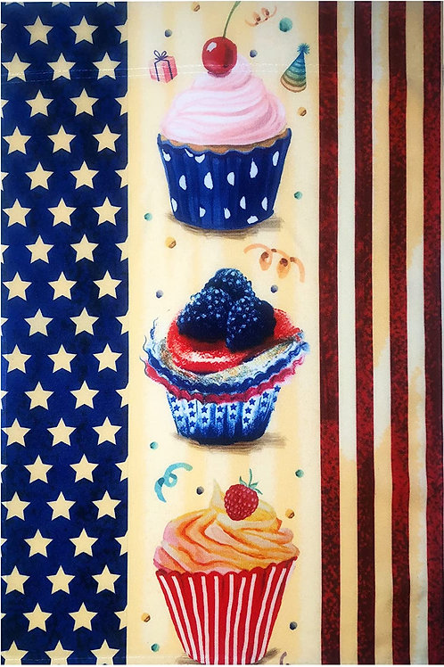 "51groups American Flag with Cupcakes Garden Flag 12""X18"" Patriotic Decorative Fl"