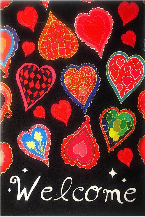 """51groups Valentine's Day Hearts Welcome Garden Flag 12""""X18"""" Valentine's Day Deco"""