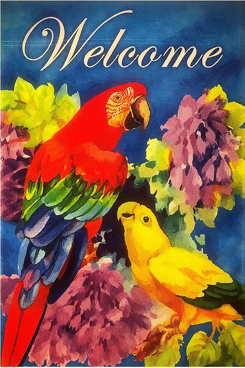 Parrots & Flowers Welcome