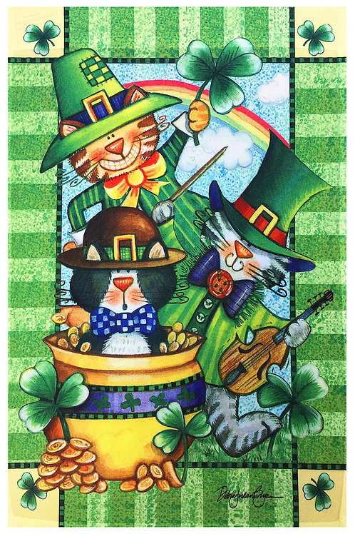 "Happy St. Patrick's Day Decorative Garden Flag 12""X18"" Pot of Gold Clovers Lepre"