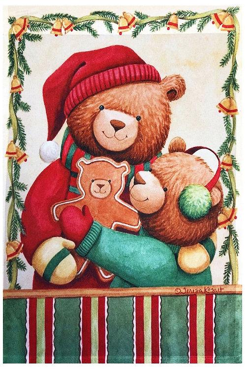 "Christmas Bears Garden Flag 12""X18"" Christmas Decorative Designer Small Banner"