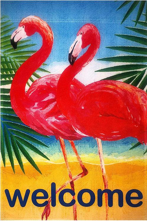"51groups Flamingos Welcome Garden Flag 12""X18"" Summer Beach Decorative Flag 100%"