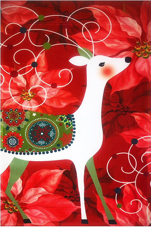 """51groups Christmas Deer & Poinsettia Flag 12""""X18"""" Merry Christmas Decorative Fla"""