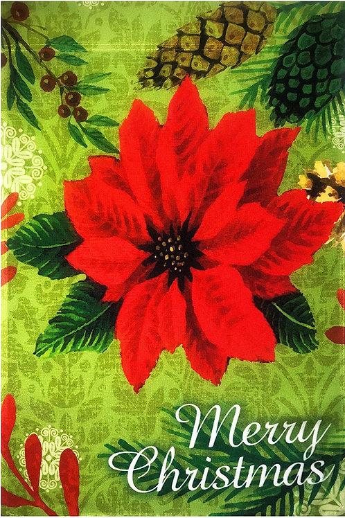 "51groups Merry Christmas Poinsettia & Pine Cone Flag 12""X18"" Christmas Decorativ"