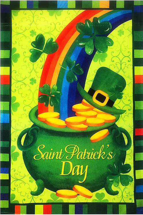 51groups St. Patrick's Day Rainbow Shamrock Hat Gold Flag12 X18 St. Patrick's De