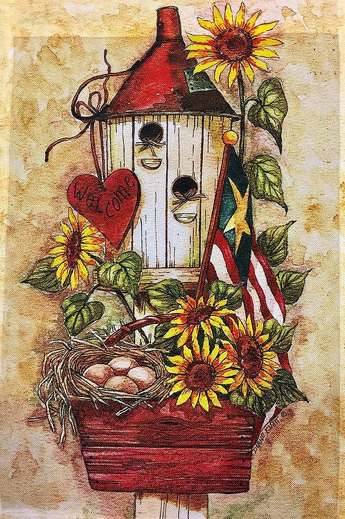 Bird House, Eggs & Sunflowers