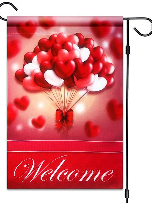 "51groups Valentine's Day Heart Balloons Welcome Flag 12""X18"" Valentine's Decorat"