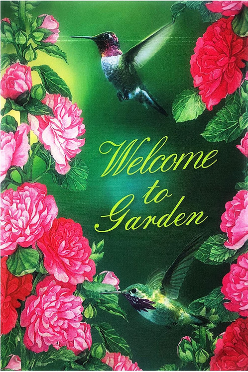 "51groups Welcome to Garden Hummingbird & Flower Flag 12""X18"" Summer Decorative F"
