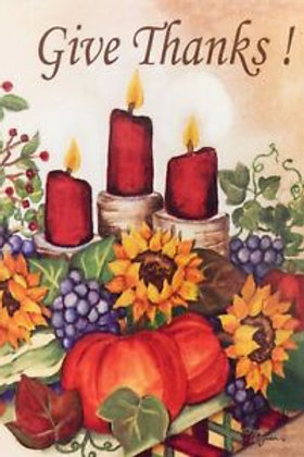 "Give Thanks Candle Garden Flag 12"" X 18"" 