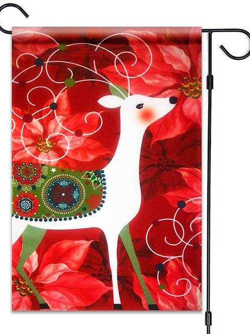 "51groups Christmas Deer & Poinsettia Flag 12""X18"" Merry Christmas Decorative Fla"