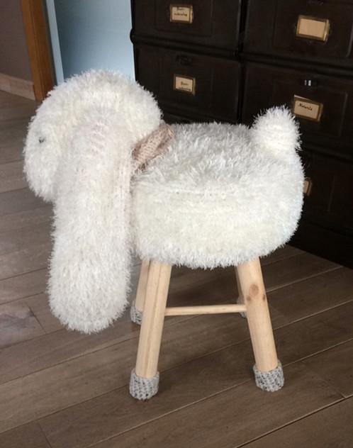 Knuffelkrukje Hangoorkonijn Grons Babywear Handgemaakte Wollen