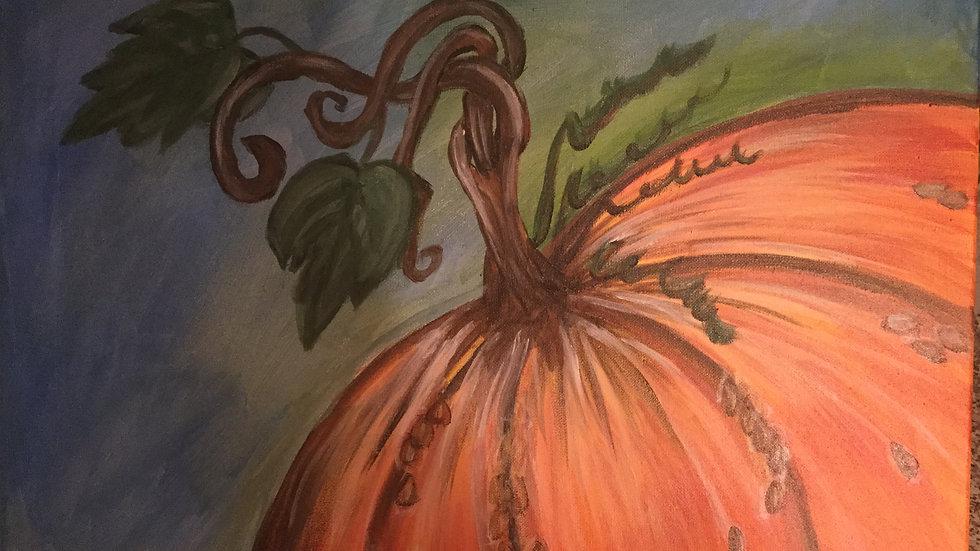 """Original canvas art """"Pumpkin Swirl"""""""