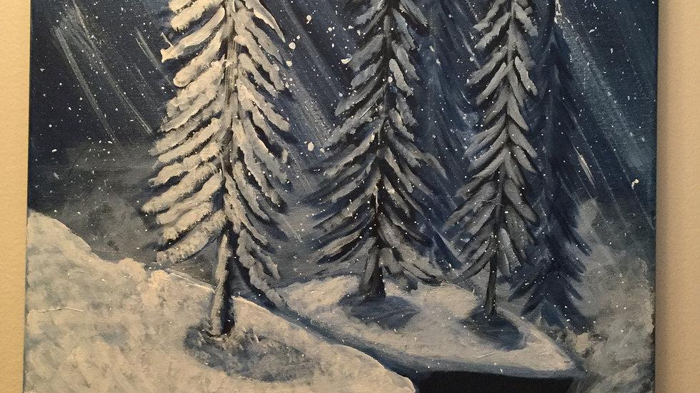 "Original canvas art ""Frozen Lake"""