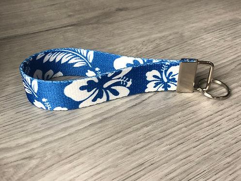 Blue Hibiscus Key Fob