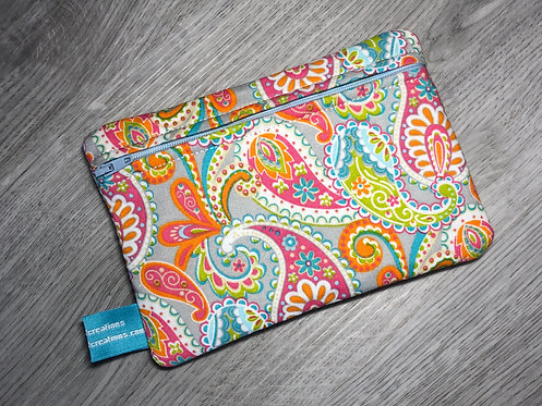 Medium Carry-All Pouch - Grey Paisley