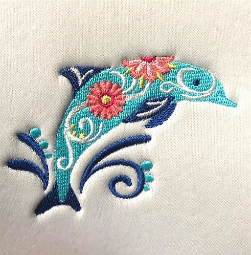 Flower Dolphin Can Coozie