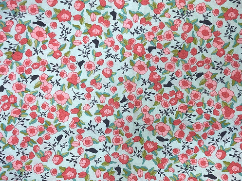 Pink Flowers on Mint Background