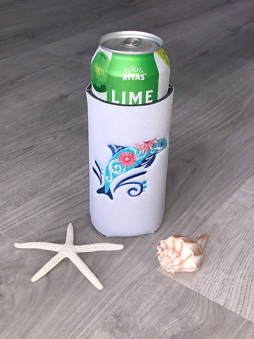 Flower Dolphin Coozie - Tall Boy