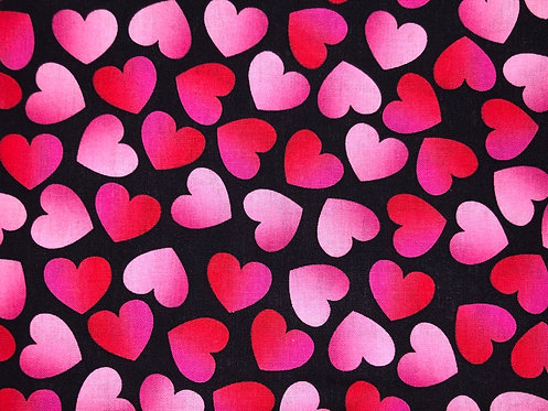 Pink and Red Hearts on Black Background