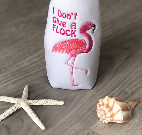 """Flamingo """"I Don't Give A Flock"""" Can Coozie"""