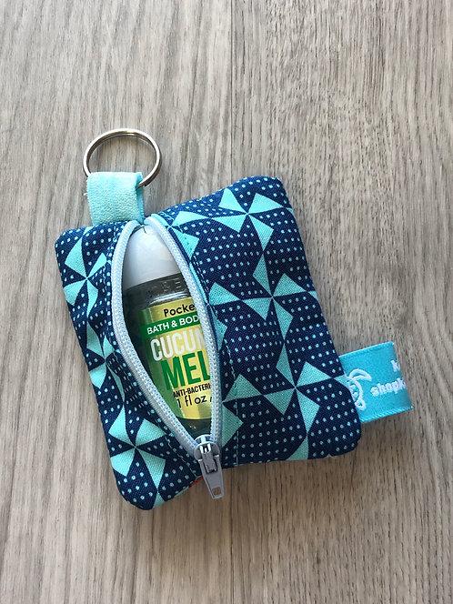 Hand Sanitizer Zipper Pouch Blue Pinwheels
