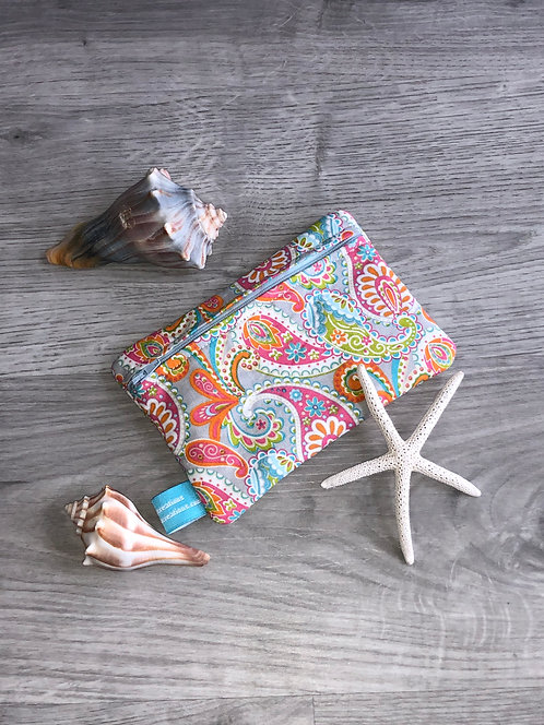Gray Paisley Zipper Bag