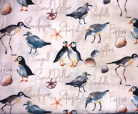 Seagulls, Sandpipers & Puffins with Seashells
