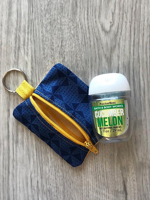 Hand Sanitizer Zipper Pouch Navy & Yellow