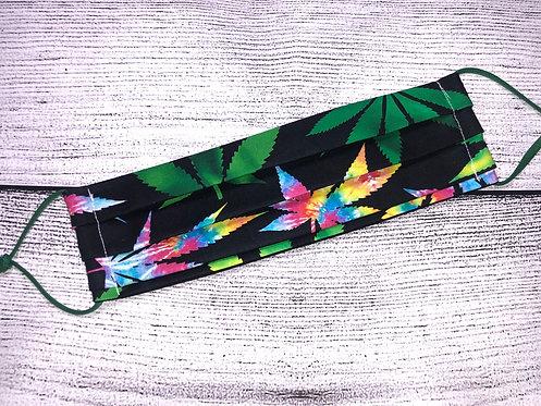 Marijuana 420 Mask - Rainbow Tie Dye