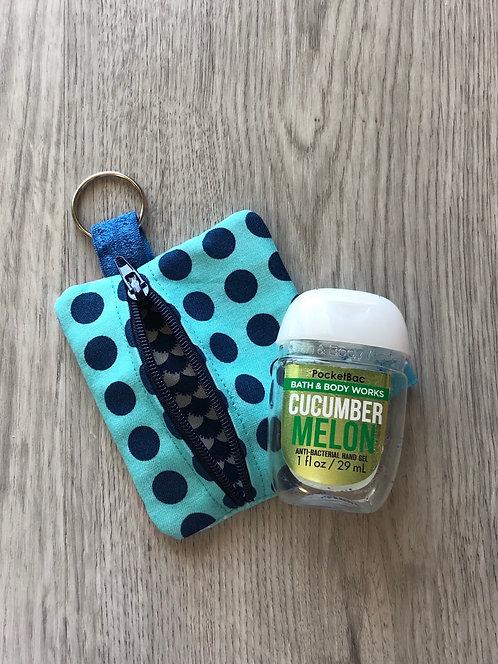 Hand Sanitizer Zipper Pouch Teal & Navy Polka Dots