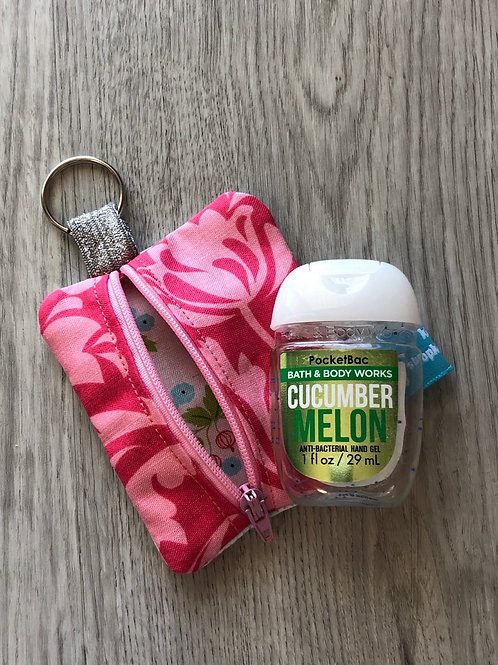 Hand Sanitizer Zipper Pouch Pink Floral
