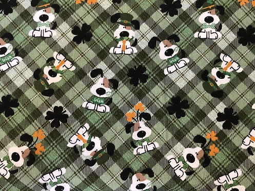 St. Patrick's Day Puppies on Plaid