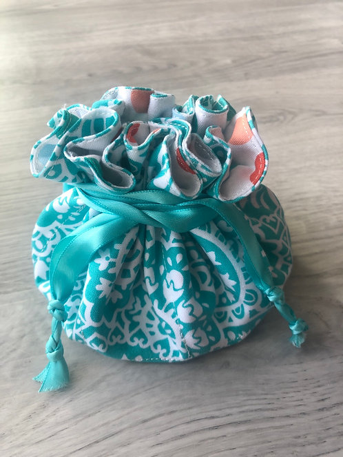Aqua Floral Jewelry Pouch